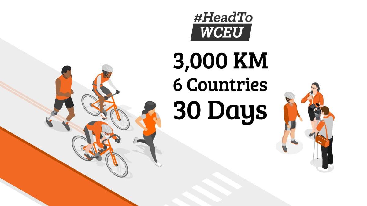 #HeadToWCEU cycling 3,000 km, across 6 countries over 30 days