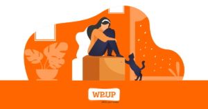 Illustrated woman sitting on a box with a cat reaching out to her