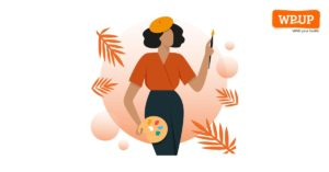 Illustrated image of a female artist