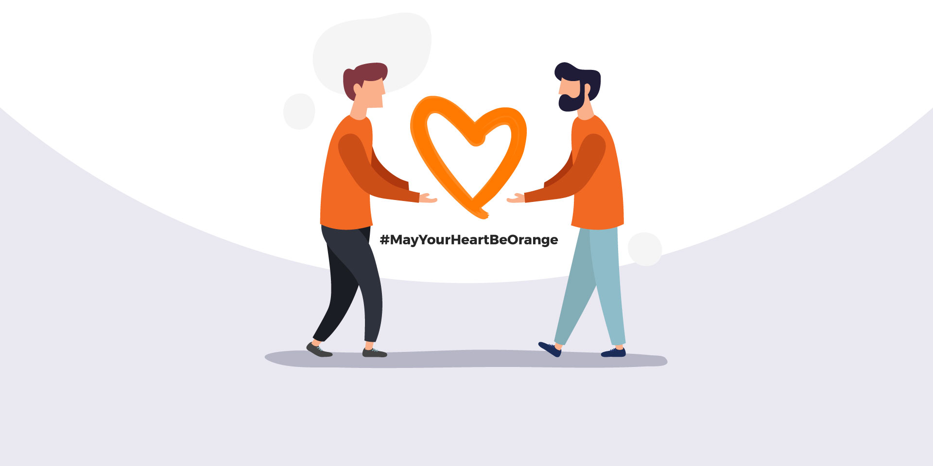 Two illustrated men holding an orange heart with the hashtag #MayYourHeartBeOrange between them