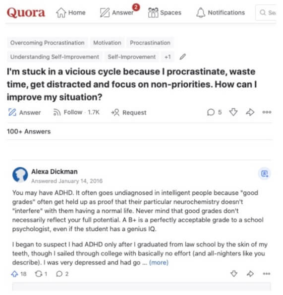 Screenshot from Quora.com displaying comments