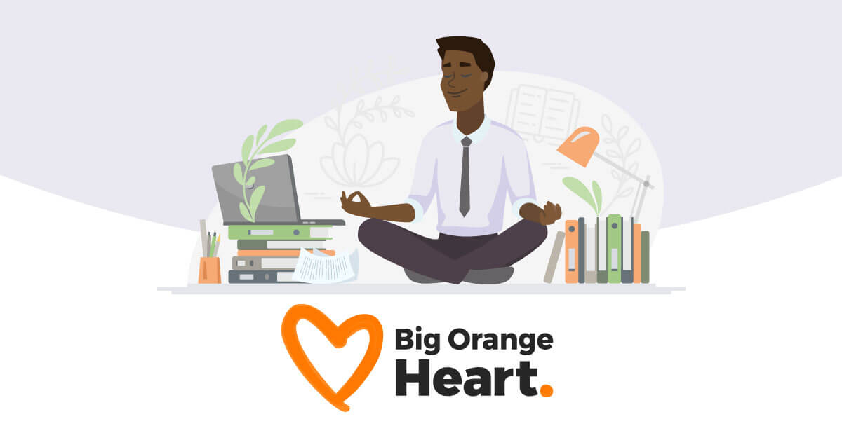 An illustrated person sitting in a lotus position in front of a laptop