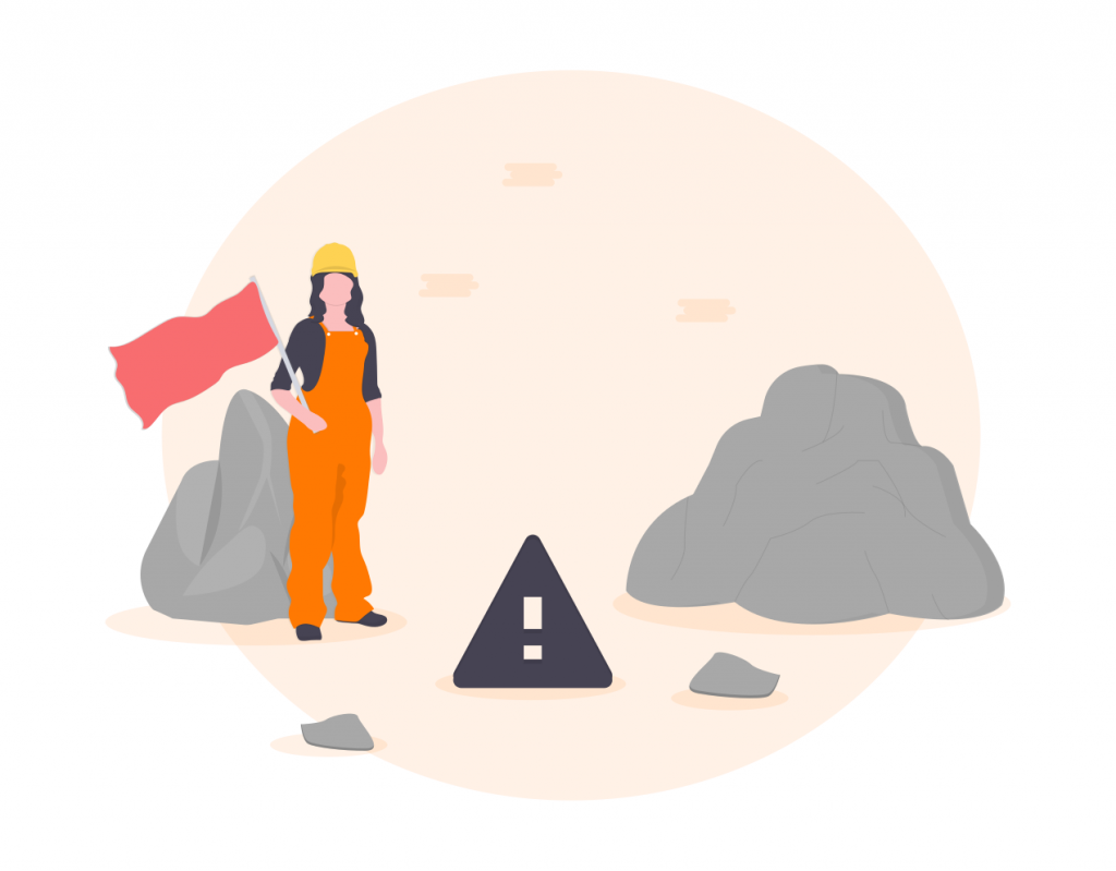 construction woman holding red flag with a warning triangle