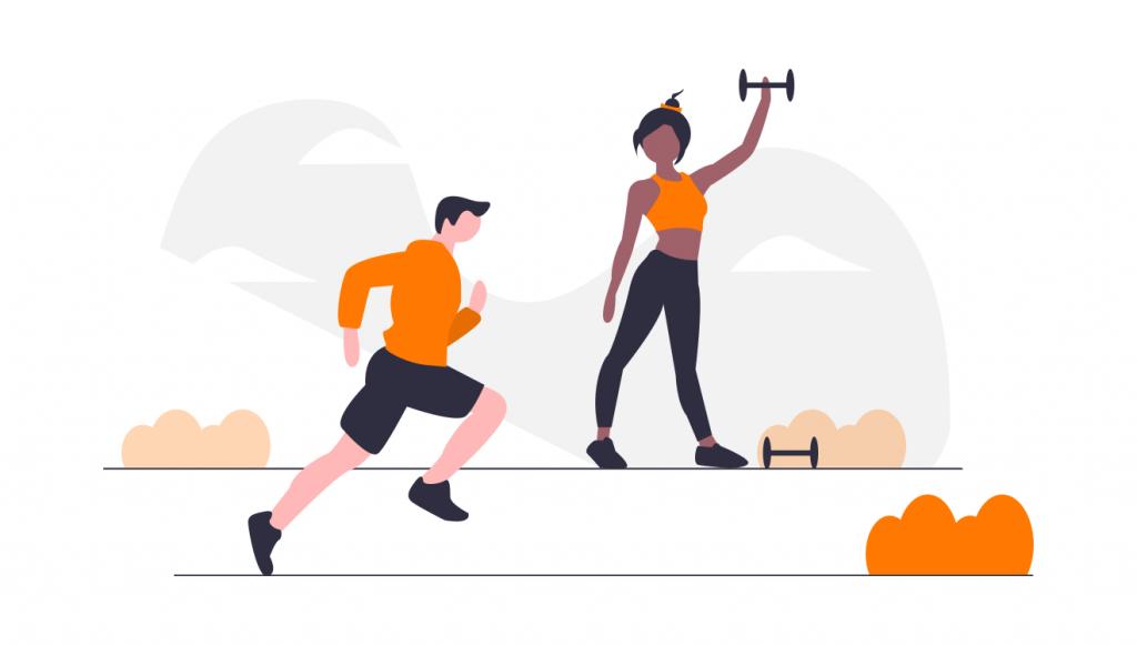 man running, woman lifting weights