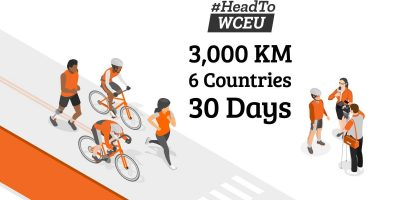 #HeadToWCEU cycling 3,000 km, across 6 countries over 30 days